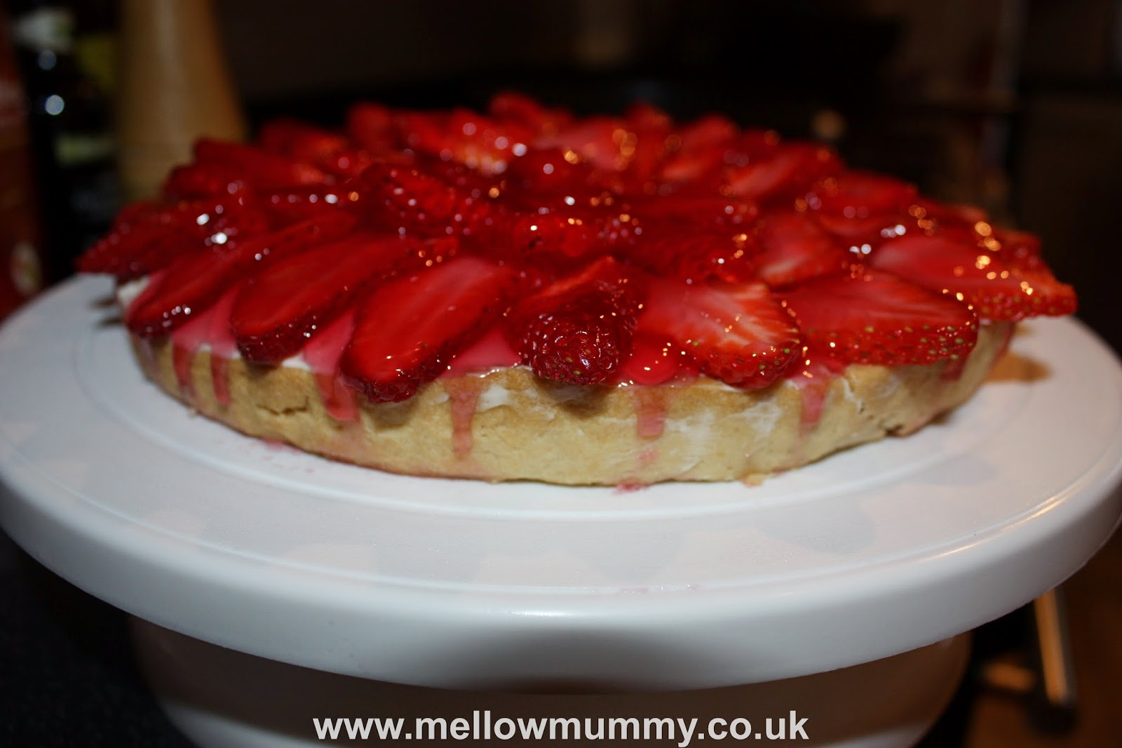 Tidying up the Glazed Strawberry and Cream Cheese Tart
