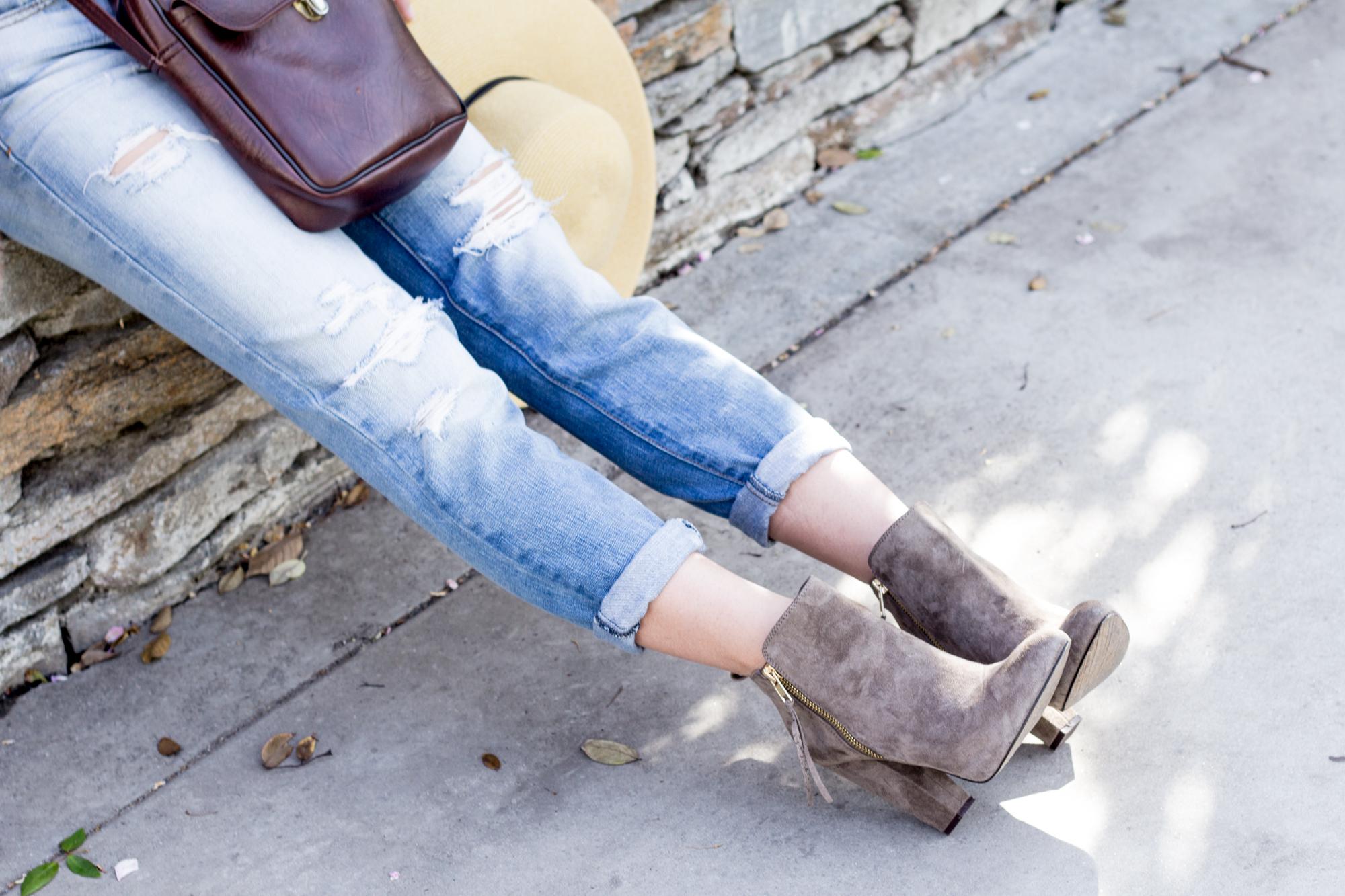 boyfriend jeans steve madden boots ootd