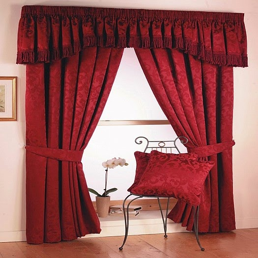 Red Curtains and Window treatments in the interiors living room