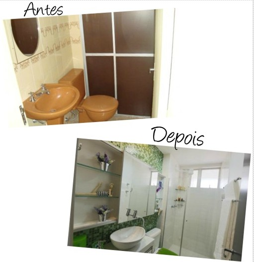 Meu Palácio de 64m² 5 ambientes reformados  Antes e Depois -> Banheiro Reformado Com Pastilha