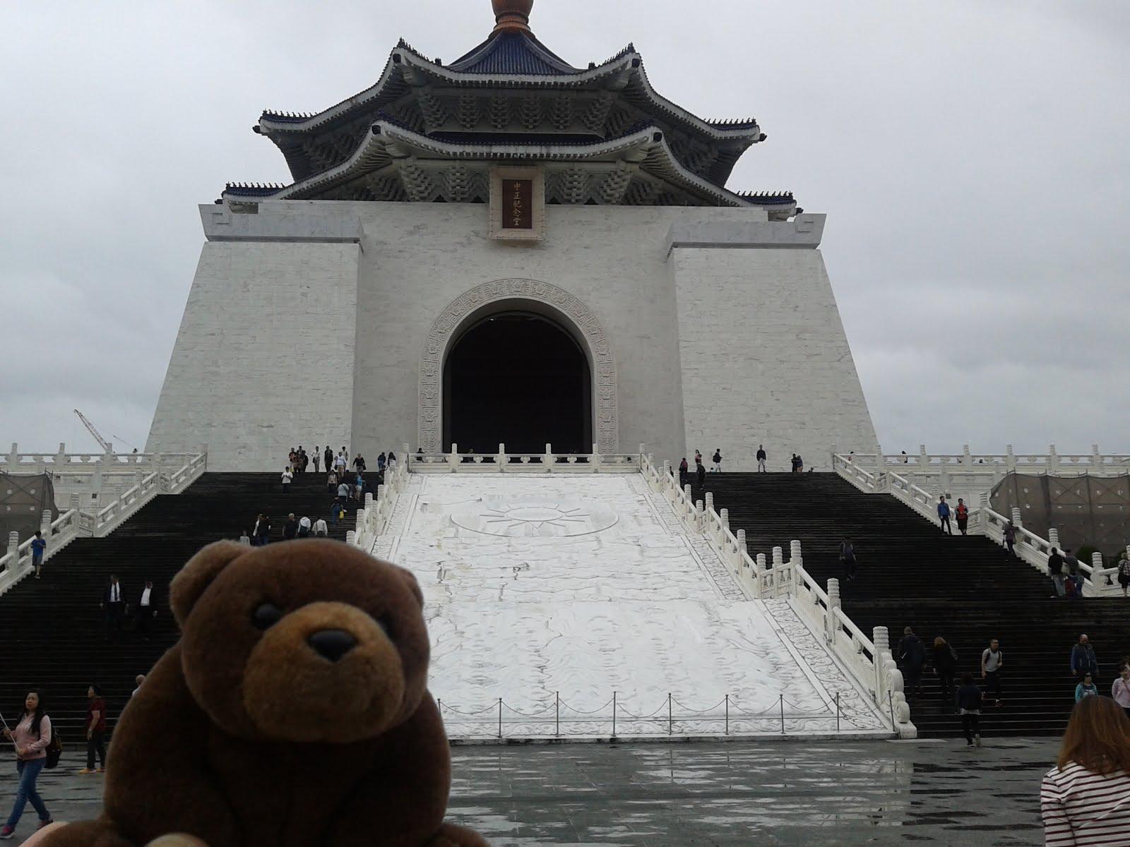 Teddy in front of Chiang Kai-Shek Memorial Hall, Taipei, Taiwan