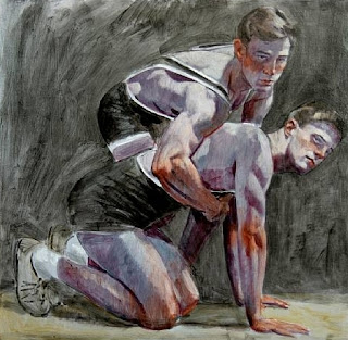 Bruce+SargeantTwo+Wrestlers-oil+on+canva