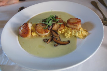Seared Sea Scallops With Corn Pudding, Tomatilla Cream, Sauted Mushrooms, and Brown Butter. YUM!