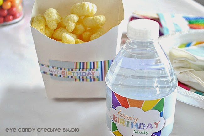 rainbow birthday labels, rainbow water bottle labels, rainbow party