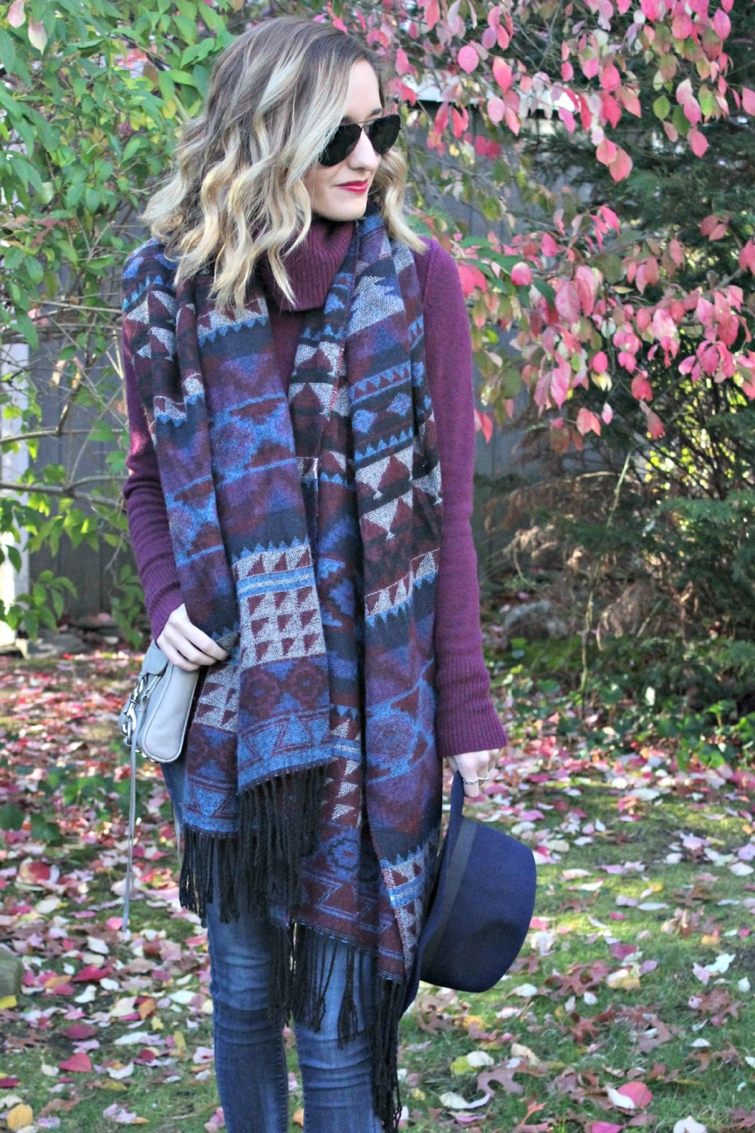 burgundy & navy outfit