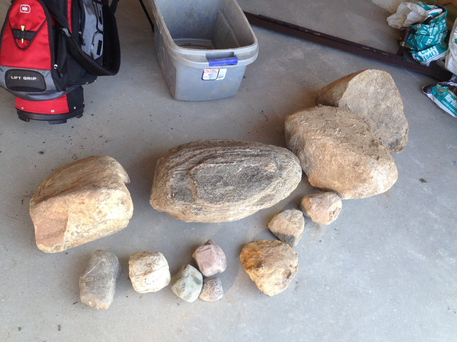 rock collection in garage