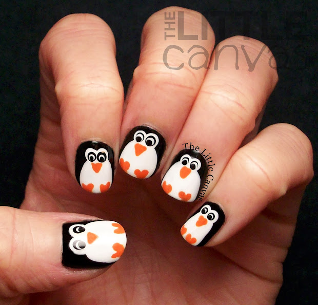 penguin nail art - little canvas