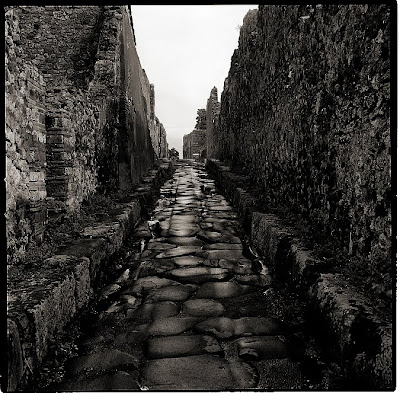 A Narrow Road in Pompeii - Black and White Photograph