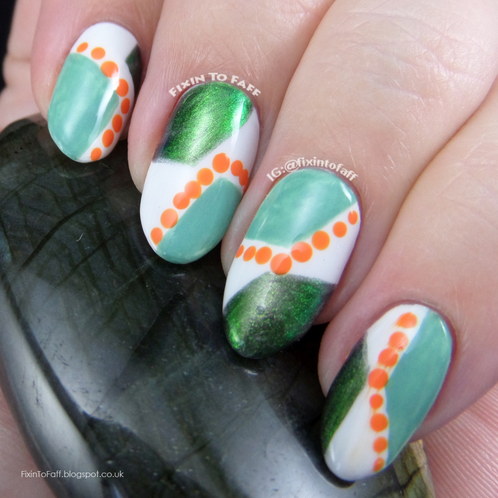 Freehand recreation of Doctor Crafty's Green and Orange Abstract geometric nail art.