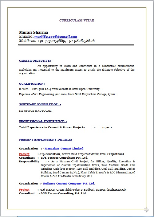 RESUME BLOG CO: Resume Sample of B. Tech. & Diploma – Civil working ...