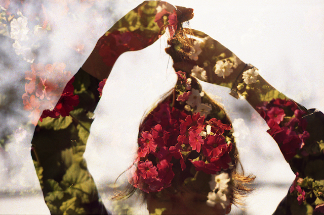 double exposure flowers photography