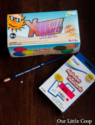 Xtreme colored sand, pencil, and alphabet flashcards