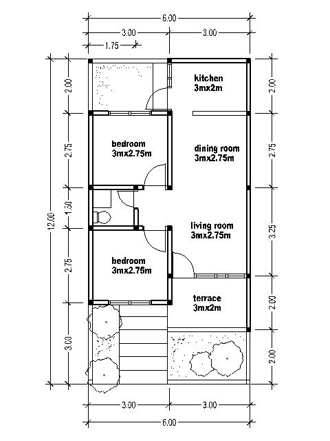House plans 6x12 bedroom furniture ideas for Kitchen design 6m x 3m