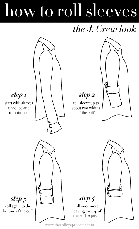How to Roll Sleeves  The J  J Crew Starfish Tie