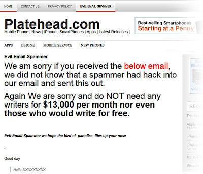 platehead.com spam email