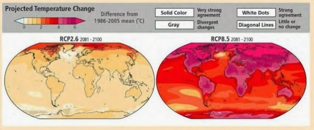 Humanity's choice: Aggressive climate action ASAP (left figure) minimizes future warming. Continued inaction (right figure) results in catastrophic levels of warming, 9°F over much of U.S. The latest IPCC report finds the annual cost of avoiding that catastrophe is a mere 0.06% of annual growth.(Credit: IPCC) Click to enlarge.
