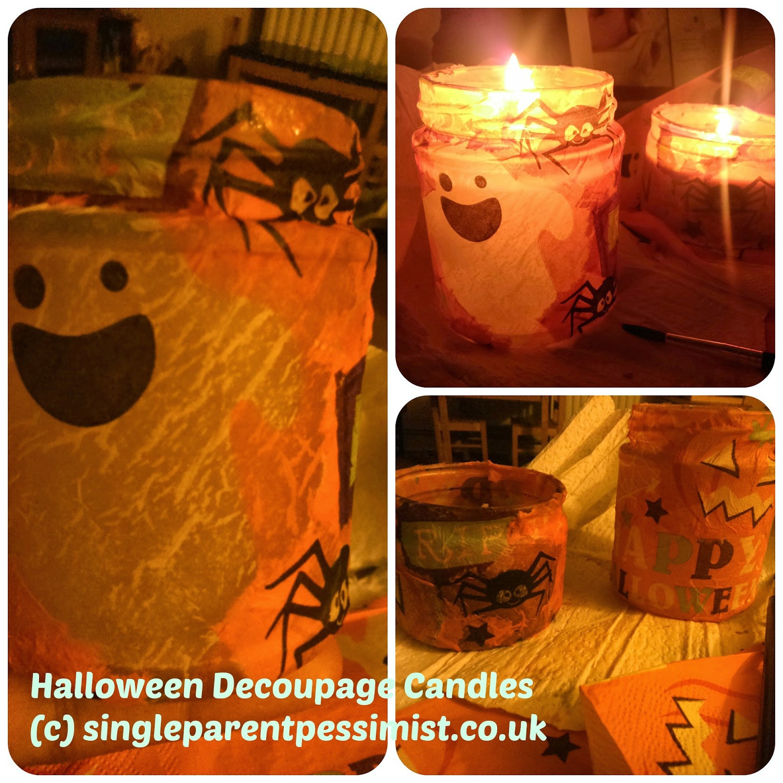 decoupage halloween candles diy