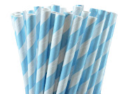 Disponíveis para entrega imediata (25 unid) (baby blue striped paper straws)