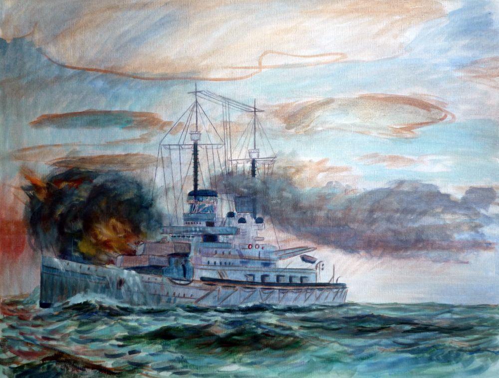 Cuarta version oleo del barco de guerra Alemán SMS Lutzow