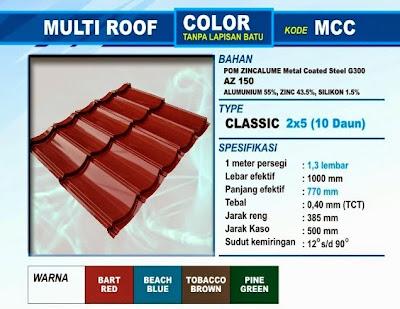 Genteng Metal Multiroof Warna klasik