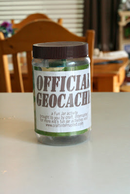 DIY geocache from a mod podge peanut butter jar