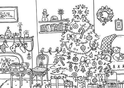 christmas village houses coloring pages - photo#8