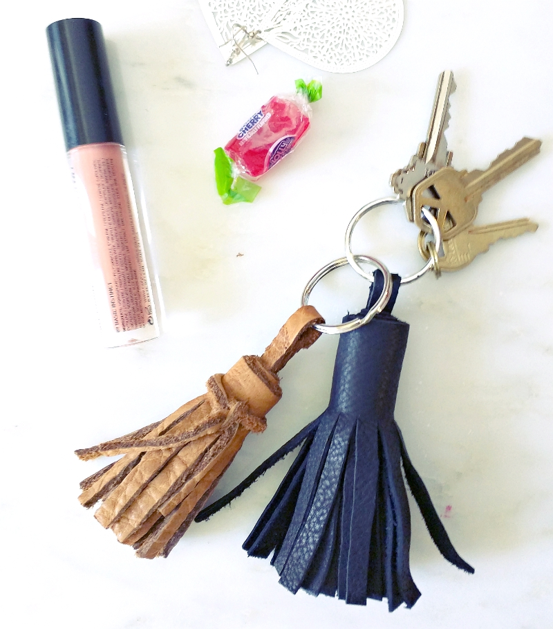 diy rustic leather tassel key chain tutorial