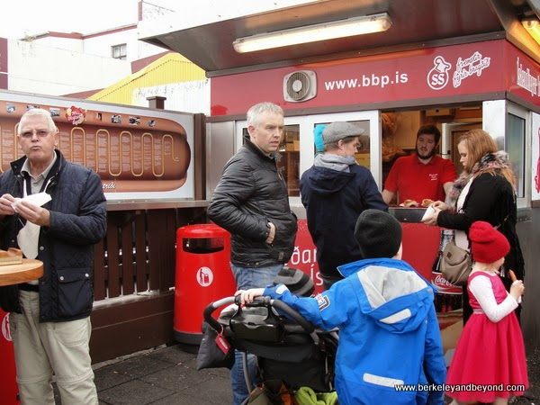 Bæjarins Bestu Pylsur food cart serves up hot dogs in Reykjavik, Iceland
