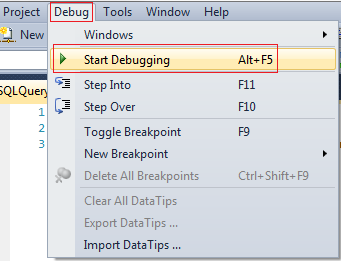 start debugging in sql server 2008