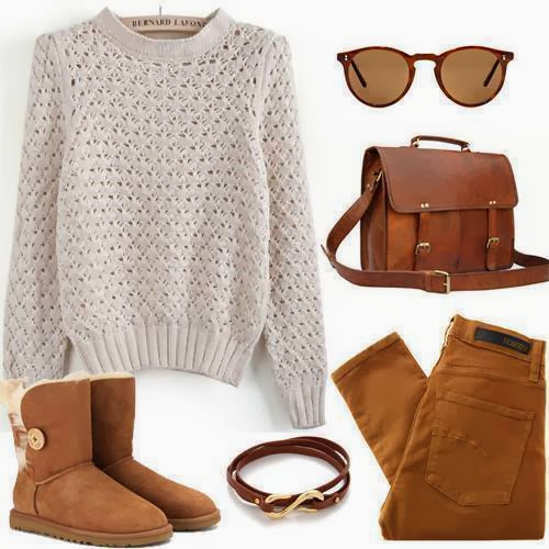 White sweater, brown pants, warm shoes and brown handbag