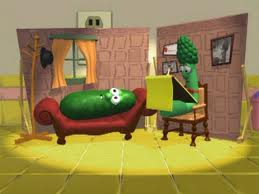 Larry the Cucumber on therapy couch