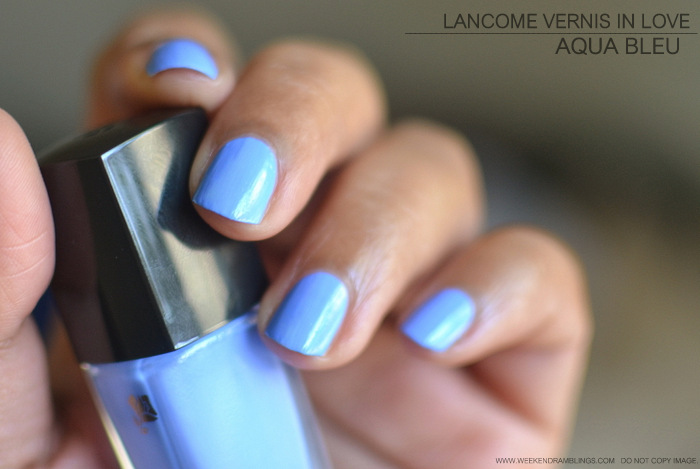 Lancome Vernis in Love Aqua Bleu Nail Polish Photos Swatches Indian Beauty Makeup Blog Review