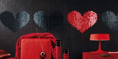 baño rojo y negro moderno