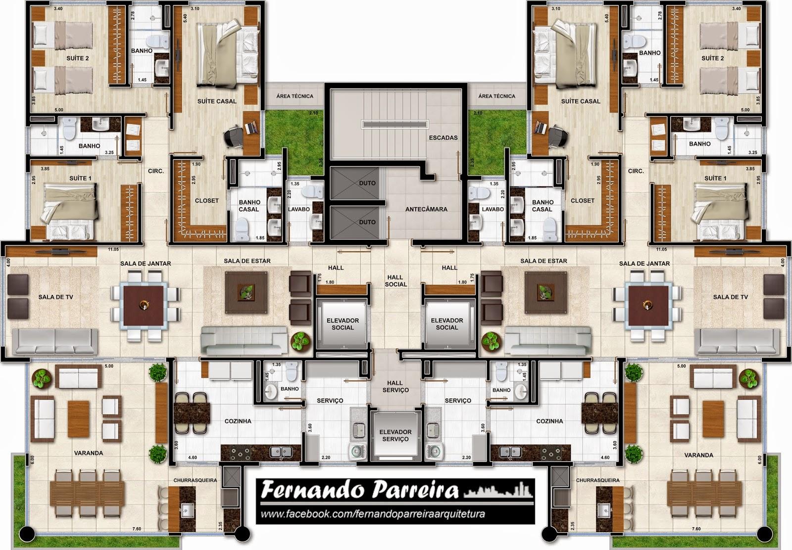 Excepcional Fernando Parreira: Plantas humanizadas para prédio de alto padrão AT46