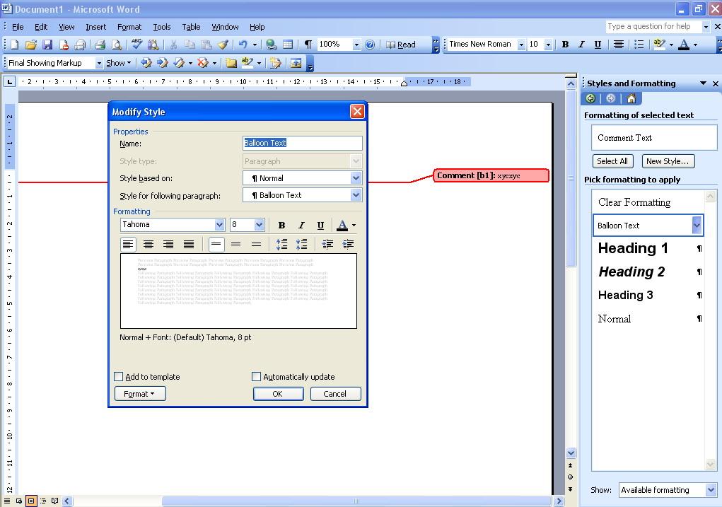 change default font size word 2007
