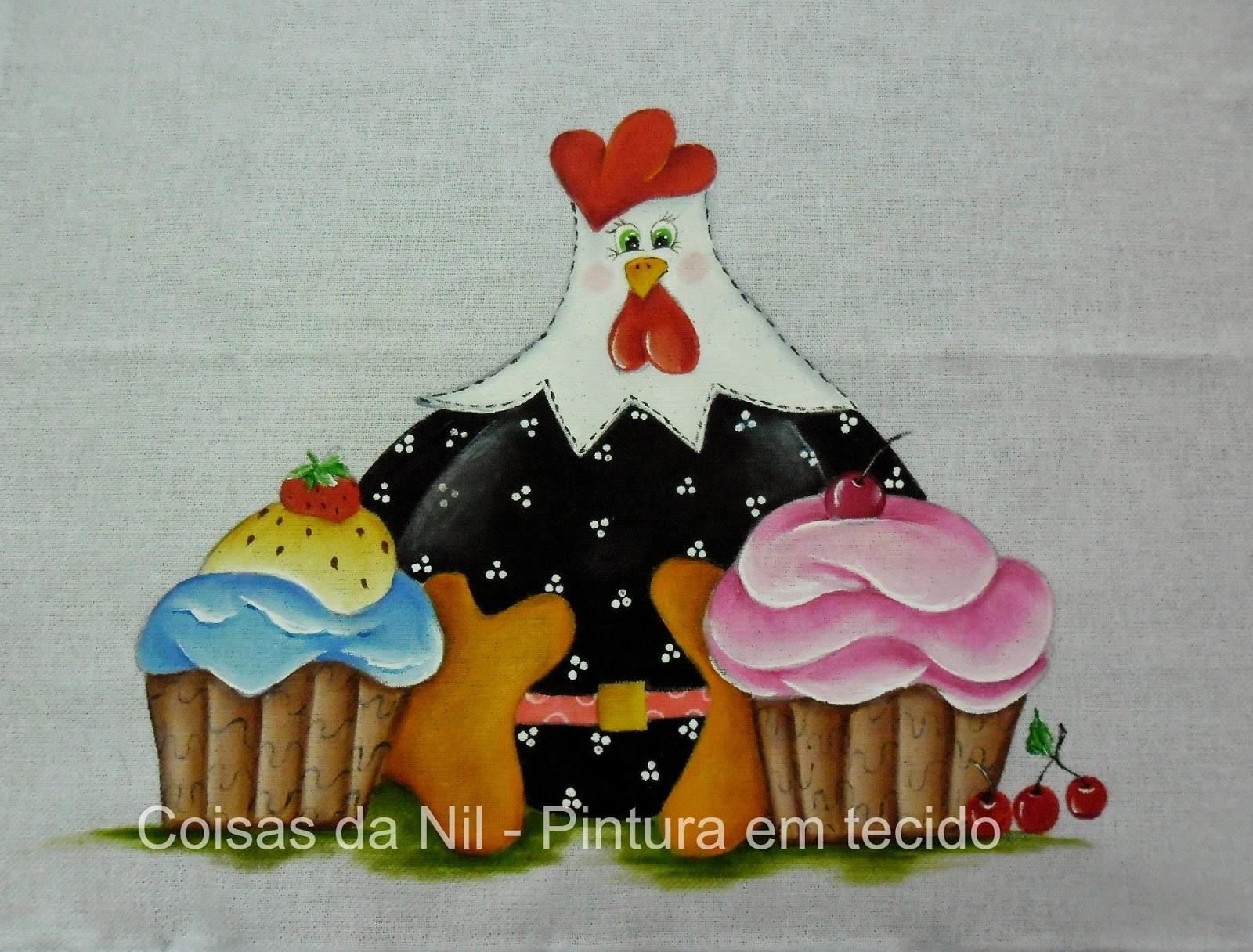 pintura em tecido de galinha dangola estilizada com cupcakes