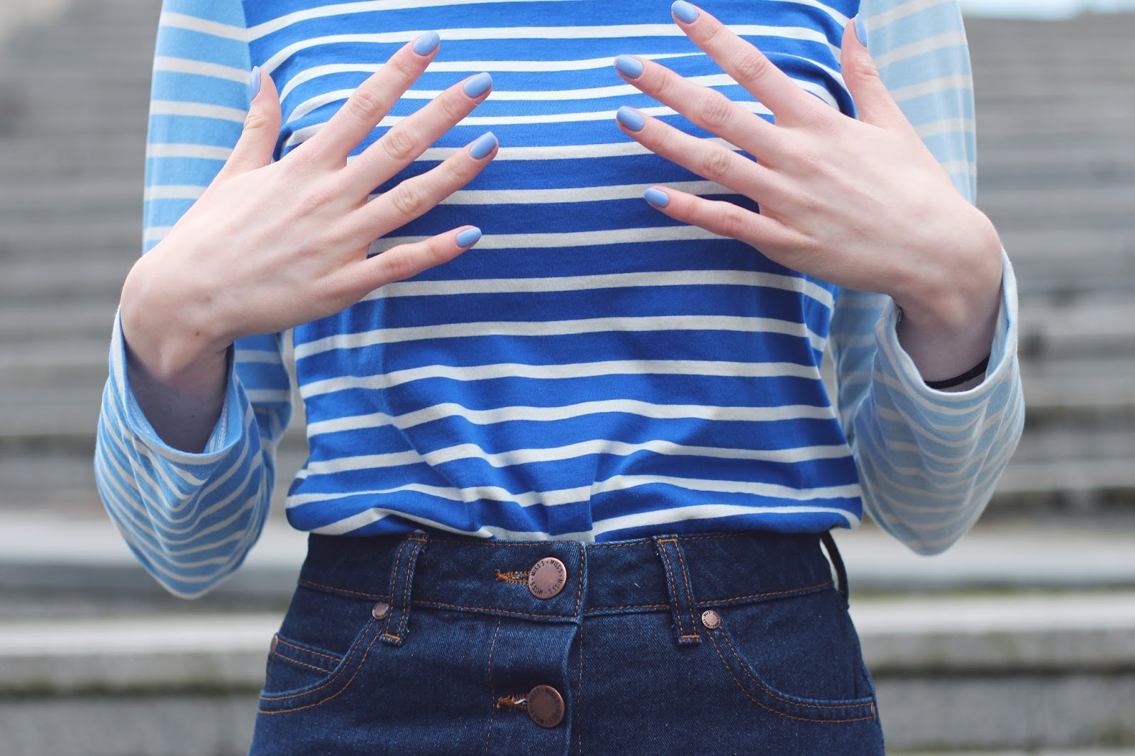 denim skirt button through