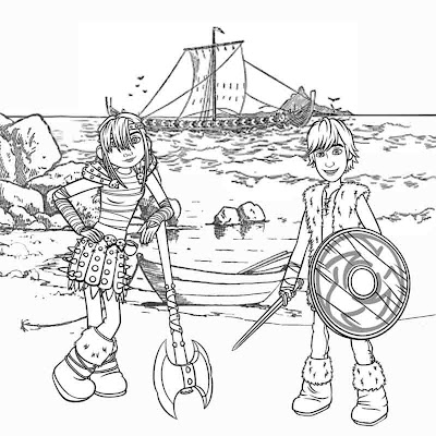 kids cartoon Viking Snotlout Astrid and Hiccup How To Train Your Dragon Coloring printable pictures