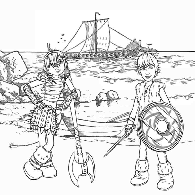 Viking Snotlout Astrid and Hiccup How To Train Your Dragon Coloring  title=