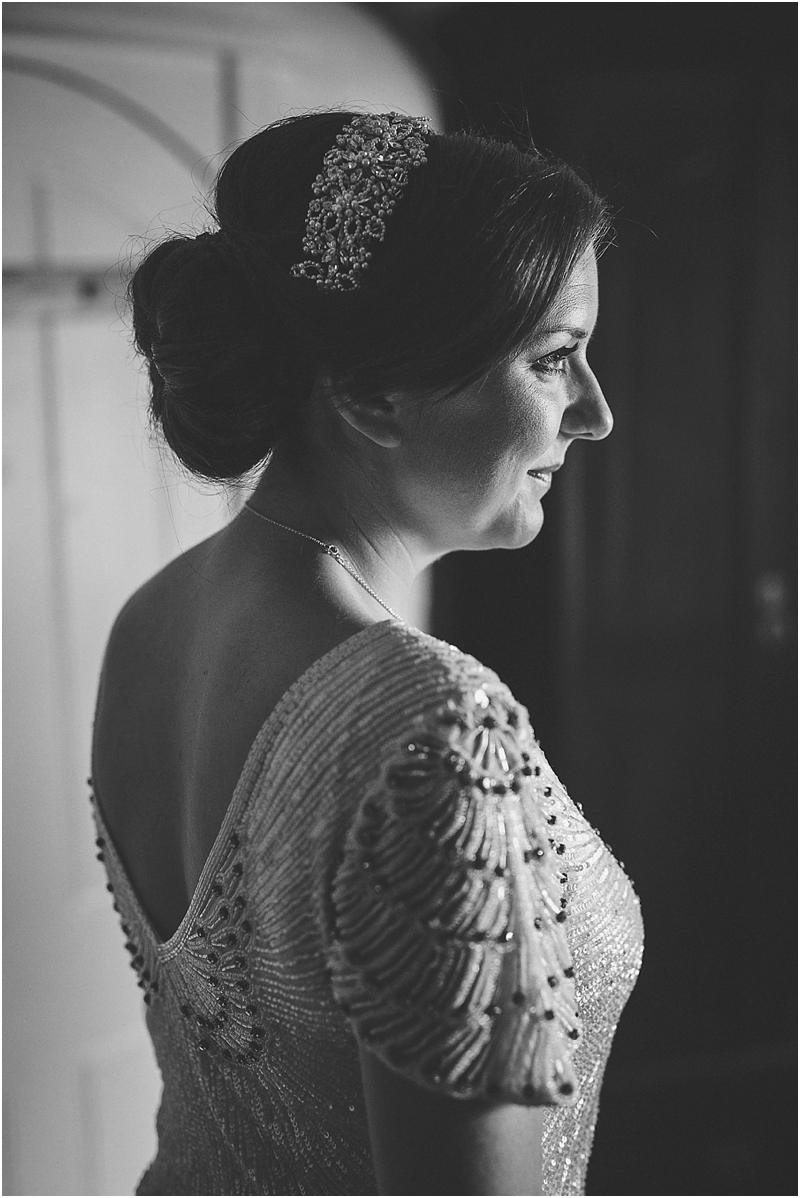 Bride with beaded dress