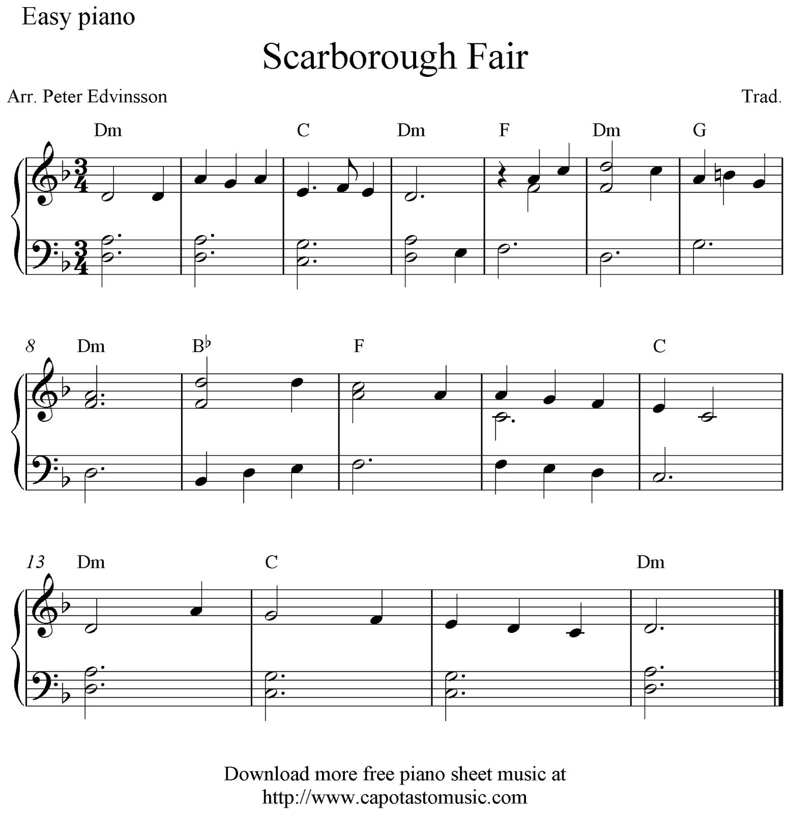 Free Easy Piano Sheet Music Score, Scarborough Fair