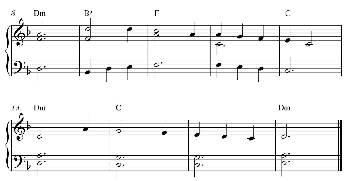 Free easy piano sheet music score, Scarborough Fair