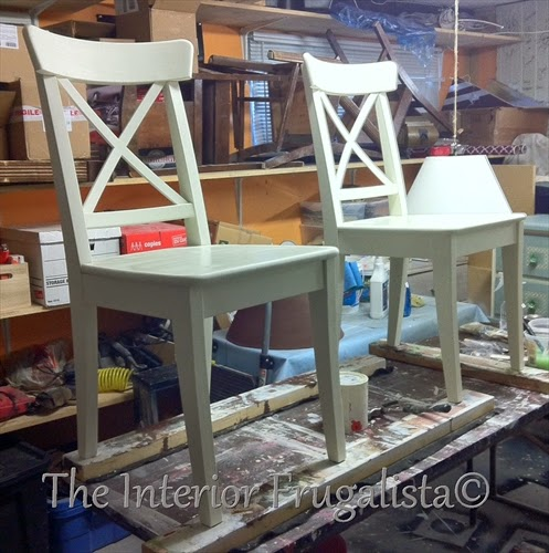 Two thrift store kitchen chairs painted like new with vanilla frosting chalk paint.