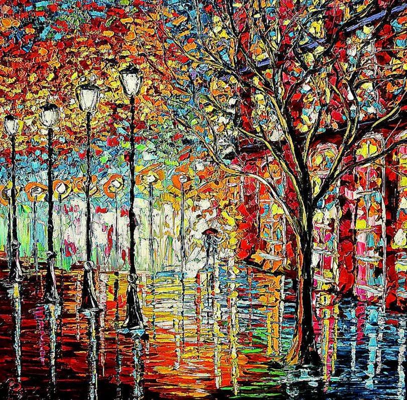 Rainy Night Oil Painting