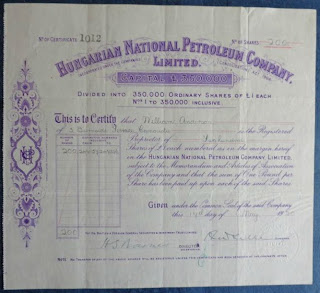share certificate of the Hungarian National Petroleum Company Ltd