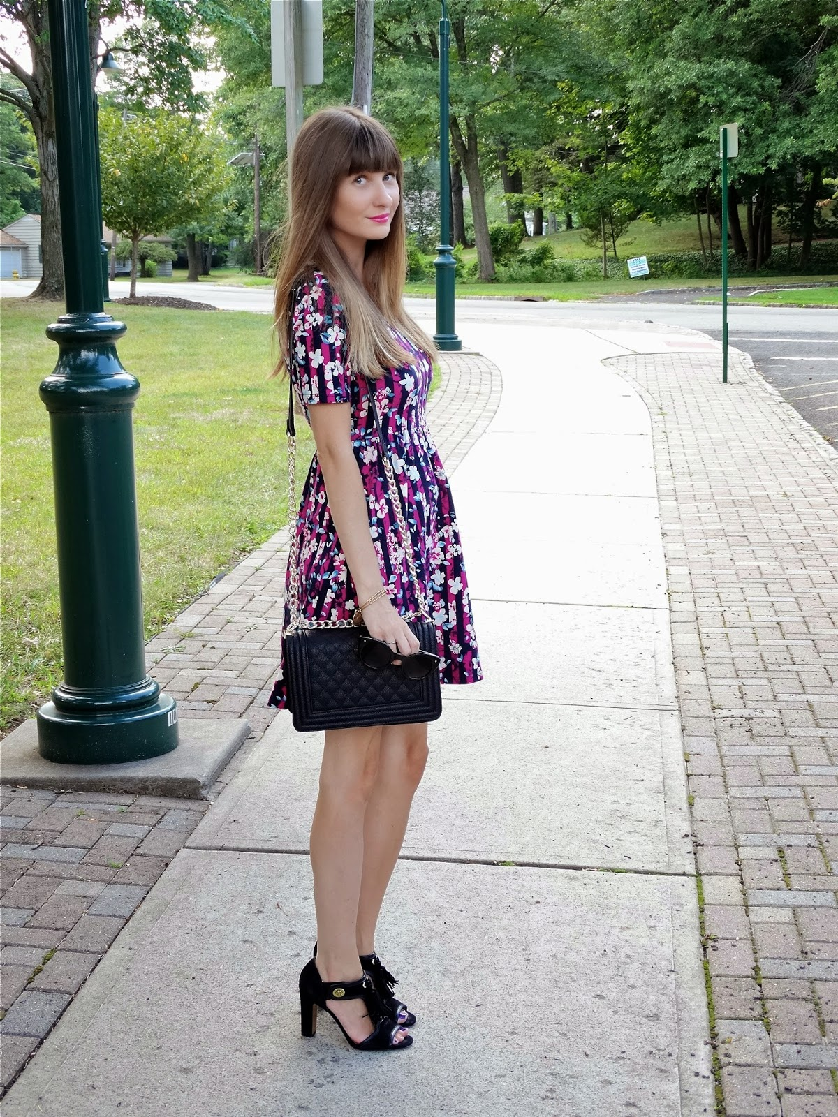 Floral Print Dress, Chanel Inspired Bag, Coach Shoes | House Of Jeffers, a fashion blog from a New Jersey point of view