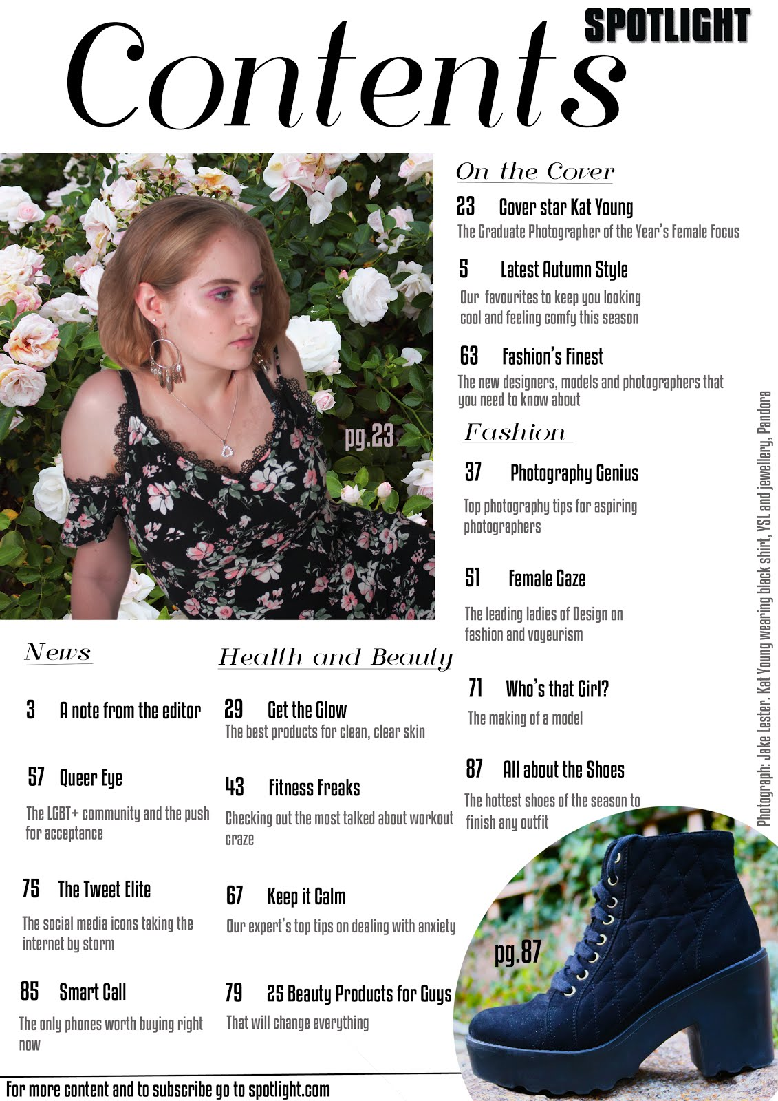 My magazine contents page: Edition 2