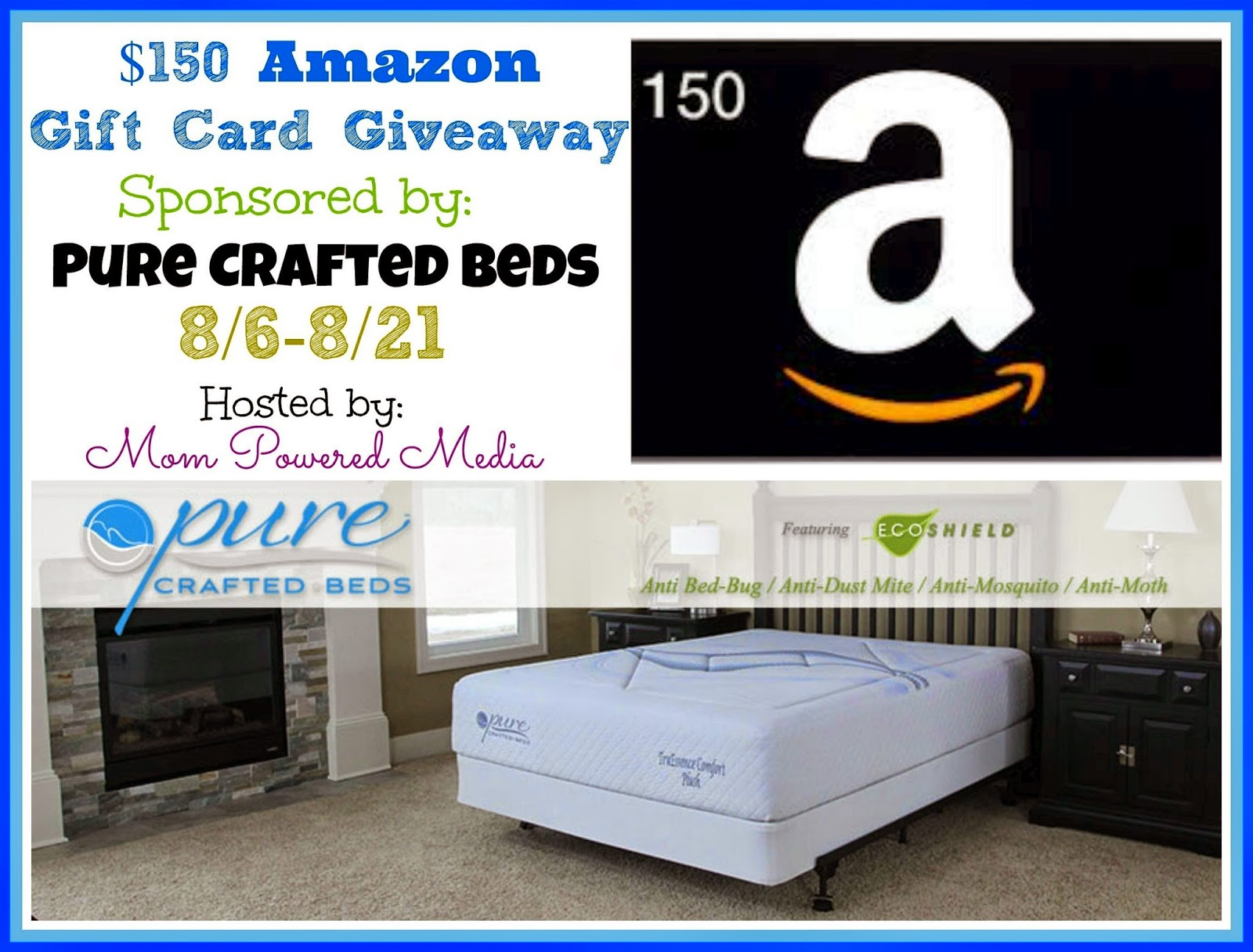 $150 Amazon Gift Card #Giveaway Pure Crafted Beds