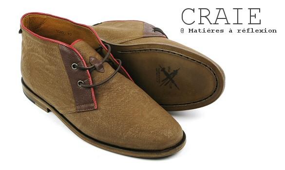 Desert boots homme toile enduite / cuir Craie