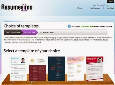 free Resumesimo Online Resume Builder with pre defined templates